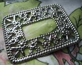 Rhodium Plated Steel Faux Marcasite Open Rectangle Findings 2x1.5 Inches 4 Pcs