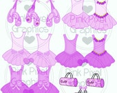 Buy 1 Get 1 Free Ballet Dance Tutu Shoes Slippers Accessories Girly Fun Graphics No.3 Clip Art Images Collection INSTANT DOWNLOAD