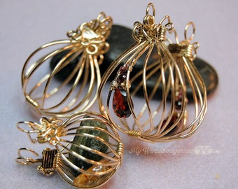 Tutorial For Wire Wrap Pendants  2 Hinged Cages and a Locket - Instant Download PDF File, Instructions