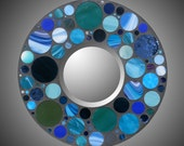 Stained Glass Blue Bubble Mosaic Mirror painstakingly hand cut, then mounted in a unique design and grout.  Seattle Artist