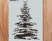 Snowy Pine, Holiday, Christmas, Tree, Stencil- Reusable Craft & DIY Stencils- S1_01_81 -8.5x11- By Stencil1