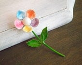 Vintage Enamel Pastel Petal Daisy Brooch, Sweet Mother's Day Retro Spring Brooch, 1960s Era Rainbow Flower Brooch found by So Very Charming