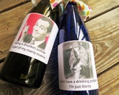 Funny Party wine/booze labels. Set of 6 Assorted Funny/Sarcastic Labels  FP2