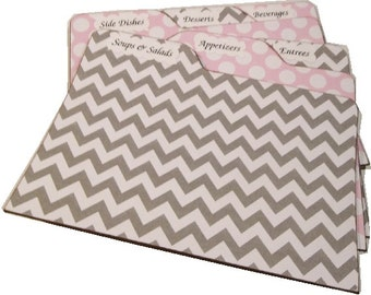 Recipe Tab Dividers STURDY (Set of 6) Gray Chevron and Pink Polka Dot Tab Dividers 3 x 5 or 4 x 6 MADE To ORDER
