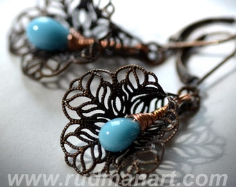 Vintage look Blue opaque earrings, Art Nuvo, victorian, shabby chic, boho, wedding gift