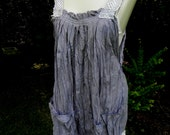 Honeymoon Beach Cover Up, Jumper, Dress, Mini, Tunic, Pockets, Ripped, Torn ,Boho Hippy, Hand Dyed Cotton, Ruffle, Twisted