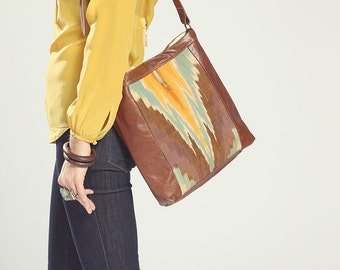 Brown Leather Tote. Ikat Bag. Tribal Bag. Leather Crossbody Bag. Leather Book Bag.