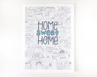 home sweet home city print
