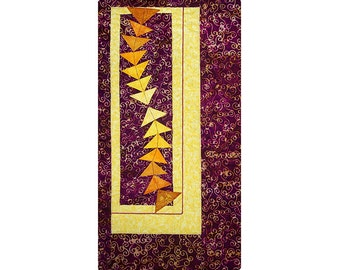 Small Abstract Art Quilt, Fabric Wall Hanging, Fiber Art, Purple and Yellow Flying Geese