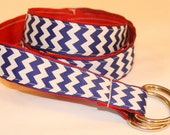 Reversible D-ring ribbon belt,  royal blue and white chevron/ solid red, 7/8 inch wide
