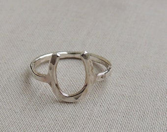 Silver Horseshoe Ring - Sterling Silver Ring - Equestrian Jewelry - Lucky Jewelry