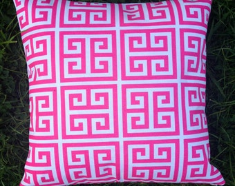 Hot Pink and White Geometric Greek Key Outdoor Cushion Cover