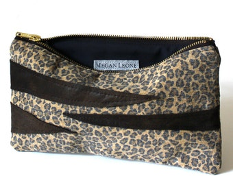 Cheetah and Zebra Canvas and Leather Zipper Small Bag
