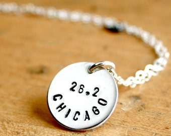 Sterling Silver 26.2 necklace -  Chicago marathon hand stamped running jewelry. Personalize it with any city or name