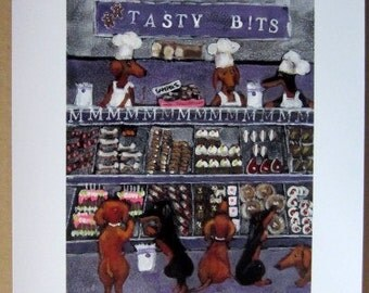 "Original Limited Ed. "" Tasty Bits Dachshund Dog Bakery""Wiener Dog  print from painting by Ellen Haasen"