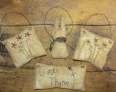 Primitive Hand Stitched Ornaments Spring Bunny