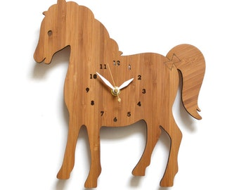 Horse Wall Clock, Wooden clock, kids room, Farm theme