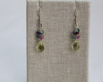 Earrings: Lemon Topaz Faceted Tear Drop Clusters with silver chain & multi-colored sapphires, sterling silver ear wires