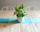 Paint Chip Table Runner - Mint color palette for cool dining room decor.