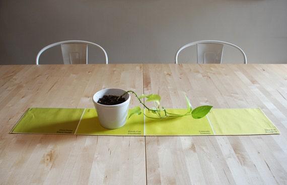 Paint Chip Table Runner - Lime colour palette for fresh green home decor.