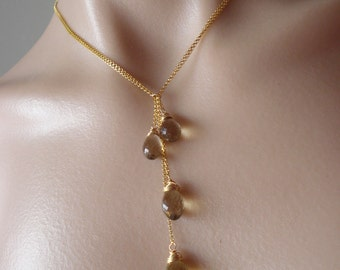 Golden drops Lariat necklace--beer quartz,14kg chain--