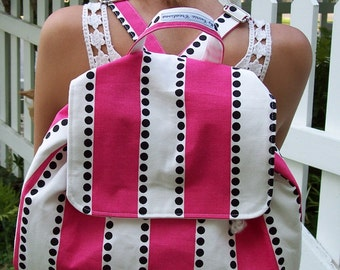My Carrie Full Size Hot Pink Stripe Polka Dot Backpack for Tween Teen Adult