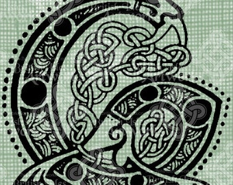 Digital Download Celtic Illumination Letter G, digi stamp, digis, St Patricks Day, Ornate digital collage sheet, Animal Inspired