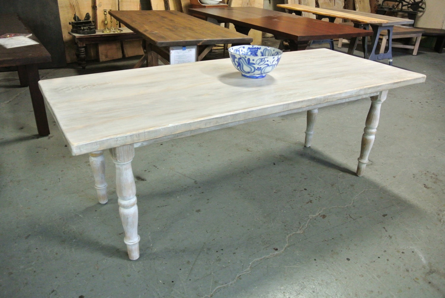 Custom White Washed Rustic Farm Table