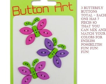 BUTTON ART - 3 butterflies each has 7 pieces to mix and match the colors FUN Scrapbooking Mixed Media Clothing Art