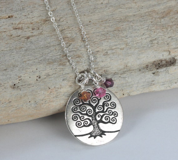 Tree of Life Silver Necklace with up to 3 Birthstones, Personalized Tree of Life Necklace, Family Necklace