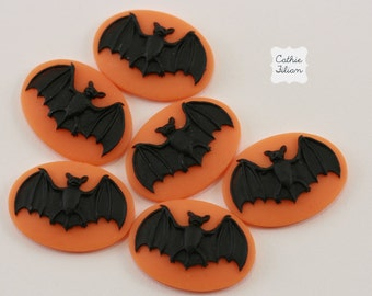Halloween Bat Cabochons - set of 6 - unset - 25/18 - Black and Orange - Halloween Vampire