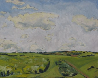 "Art Original Plein Air Landscape Oil Painting Impressionist Eastern Townships Minimalist Sky Cloud Quebec Canada Fournier ""Clouds and Green"""