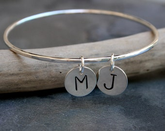 Monogram Initial Charm Bangle, 2 Charms, Bracelet Sterling Silver Personalized, Stamped Letter Silver Disk Bangle, Custom Mother's Day
