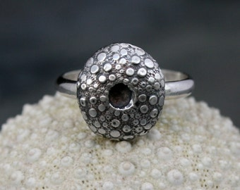 Sea Urchin Sterling Silver Ring, Ocean Jewelry, Hawaiian Jewelry, Handmade Cast Sterling Silver Ring, Size 7, Lost Wax Cast Shell