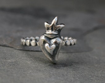 Heart on Fire Stacking Ring, Sterling Silver, Sacred Heart, Silver Ring, Stackable Ring, Heart Crown, Bead Ring Band