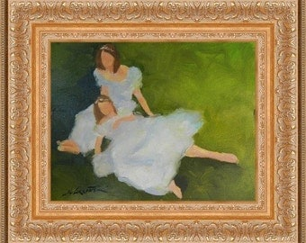 Sisters, original oil painting, girls, white dress impressionistic 11 x14 oil on canvas