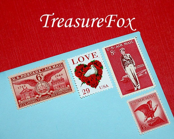I LOVE RED .. Vintage Unused US Postage Stamps ..enough to mail 10 letters