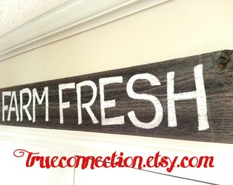 FARM FRESH Sign Kitchen Hand Painted Wood Sign. Recycled Wood Rustic Store Sign Country Farmhouse Decorations Wall Sign Shelf Wooden Vintage