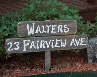 Home Address Sign. Family Welcome Sign Last Name Personalized Gift Yard Sign Farm Sign Yard Sign Reclaimed Wood Sign Hand Painted Garden
