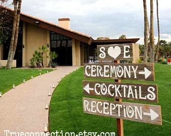 Wedding Signs AND Stake Reclaimed Wood Signs. Reception Signs. Parking Signs. Restrooms Sign. Rustic Wedding Outdoor Signs