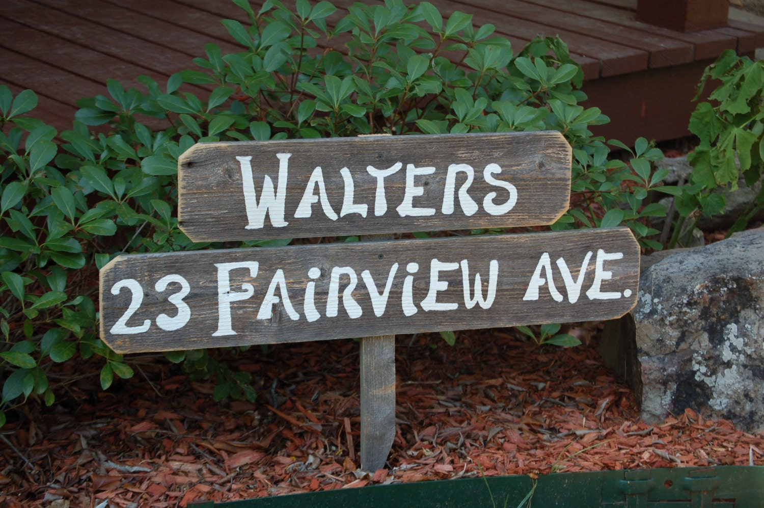 Number home address sign family name gift welcome sign - House number signs for yard ...