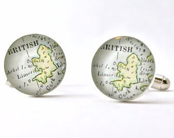 Ireland 1899 Antique Map Cufflinks with Handcrafted Pine Gift Box