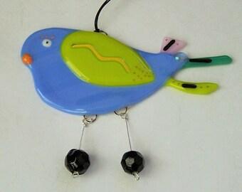 Fused Glass Bird Suncatcher Whimsical  Ornament