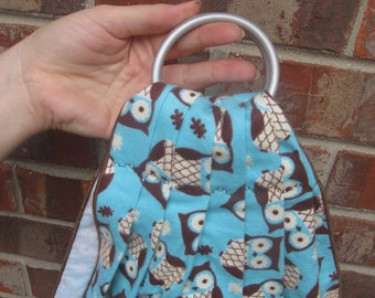 Midwifery Weighing Sling- Cozy Aqua Owl Flannel - beautiful keepsake or photo prop