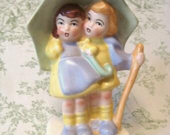RARE Vintage Figurine CHILDREN with UMBRELLA