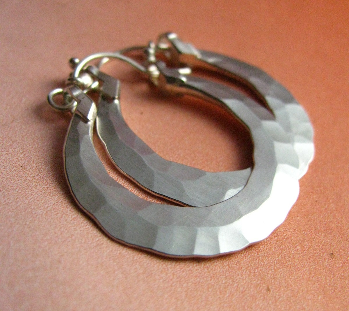 forged small sterling silver hoop earrings artisan. Black Bedroom Furniture Sets. Home Design Ideas