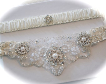 Wedding Garter Set with Pearl and Rhinestones Cabochons and Embroidered Beaded Centering Trim