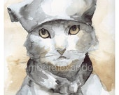 watercolor painting- print- cat watercolor -Les Mews, cat art