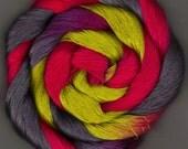 50 yards Hand Dyed Size 10 Cotton Crochet Thread gray chartreuse fuchsia Loki