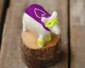 Super Hero Purple Valentine Lamb - Needle Felted Love to the Rescue